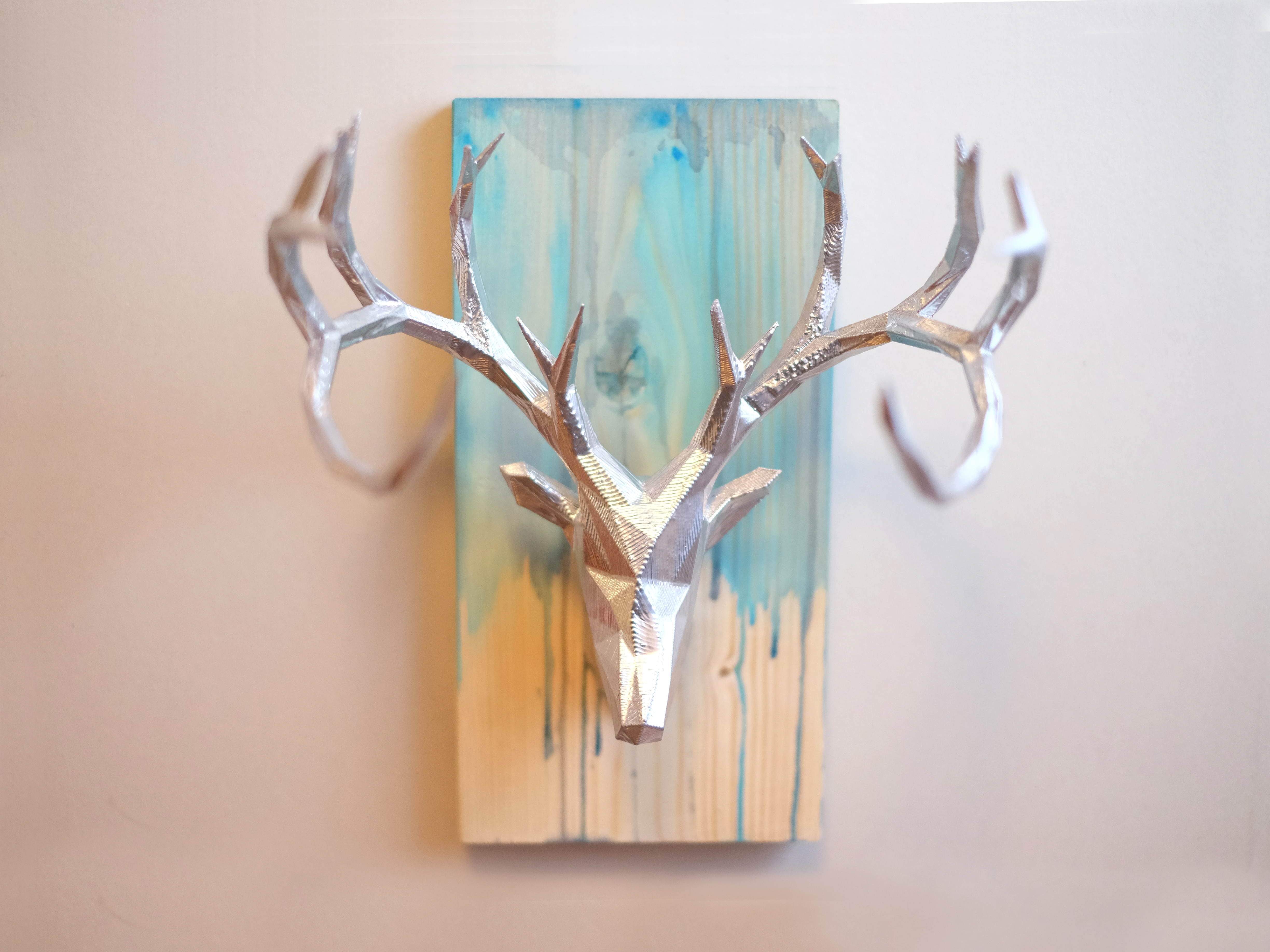 3D print & wood faceted deer & Texas wall art - evanandkatelyn.com