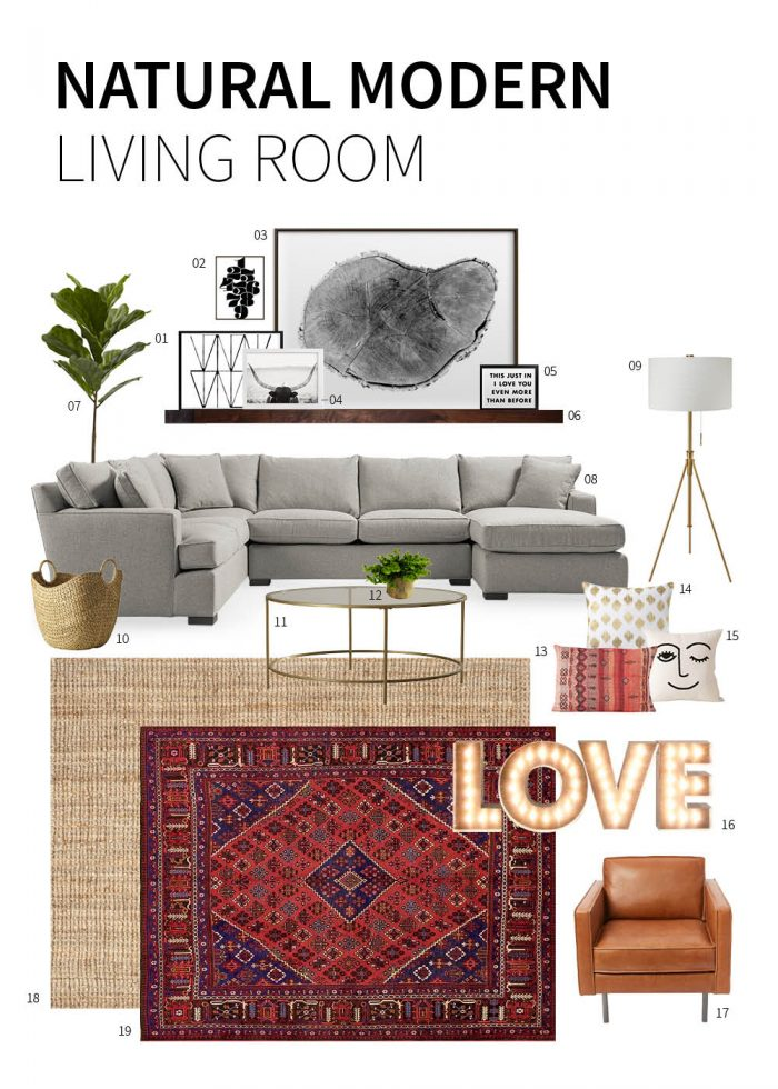 Natural modern living room - evanandkatelyn.com