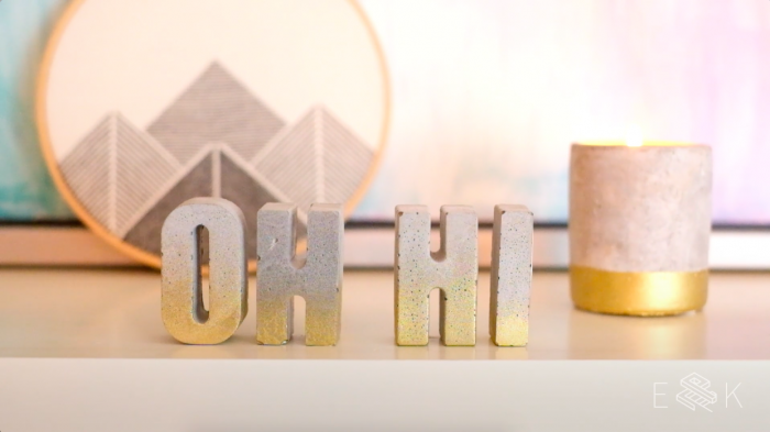 DIY easy concrete letters using baking molds! evanandkatelyn.com