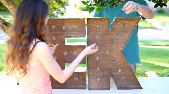 DIY wood and metal marquee letters - Evan & Katelyn